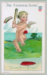 The National Game Postcard - 1910 - Cherub playing baseball