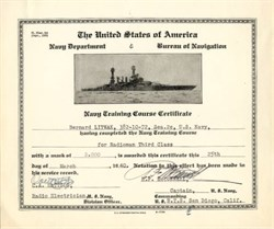 United States Navy Training Course Certificate - San Diego, California 1940