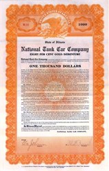 National Tank Car Company 1922 - $1,000 Gold Debenture - Illinois