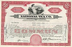 National Tea Company Stock Certificate 1935