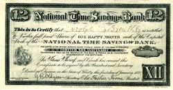 National Times Savings Bank 1884 - Father Time Vignette