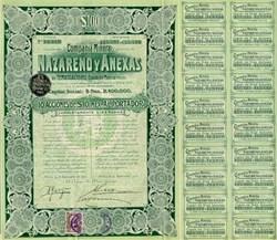 Compania Minera Nazareno Y Anexas En Temascaltepec Estado De Mexico - Nazareno Mining Company Bond 1910