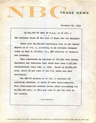 Original NBC Press Release announcing 25,690,000 TV Sets in United States - 1953