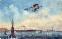 Neale Biplane and Submarine Flotilla Litho postcard