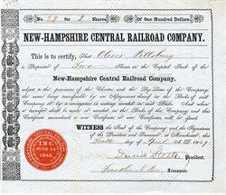 New-Hampshire Central Railroad Company - New Hampshire 1849