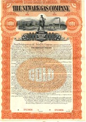 Newark Gas Company Specimen Gold Bond - RARE - New Jersey 1895