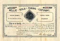 Nellie Gold Mining Company - St. Louis, Missouri 1891