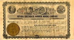 Nevada Greenback Wonder Mining Company - Nevada 1907