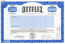 NetFlix Inc. - RARE IPO Specimen Stock Certificate - Reed Hastings as President - Delaware 2002