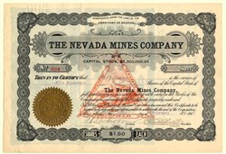 Nevada Mines Company - Goldfield, Nevada - Organized in Territory of  Arizona 1908