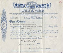 News of the World Limited ( Pre Rupert Murdoch's phone hacking scandal and closure) -  England 1936