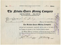 Nevada Queen Mining Company - Wyoming 1905