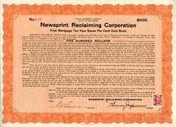 Newsprint Reclaiming Corporation, Delaware 1919