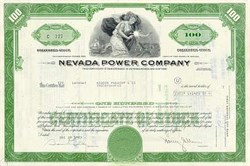 Nevada ( Las Vegas) Power Company Stock Certificate