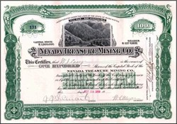 Nevada Treasure Mining Co. 1909