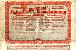 New Ario Copper and Exploration Company - London, England 1901