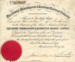 Newry, Warrenpoint & Rostrevor Railway  Company - Belfast, Ireland 1846