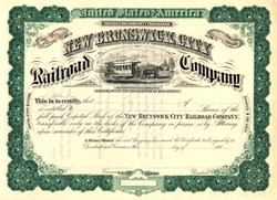 New Brunswick City Horse Railroad Company - New Jersey 1880's