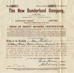 New Dunderland Company issued to Stilson Hutchins, founder of the Washington Post.- London 1914