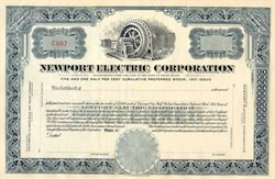 Newport Electric Company Preferred Stock Certificate 1931