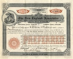 New England Associates (Preferred) issued to Stilson Hutchins, founder of the Washington Post- Maine 1906