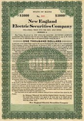 New England Electric Securities Company - Gold Bond - Maine 1913