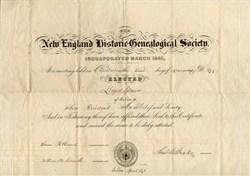 New England Historic Genealogical Society signed by Samuel G. Drake - Boston 1858