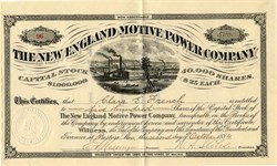 New England Motive Power Company - Boston, Massachusetts 1884