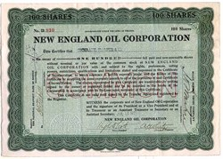 New England Oil Corporation- 1921