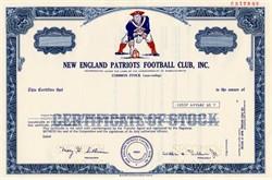 New England Patriots Football Club (Rare Specimen)   - William H. Sullivan, Jr. as President  - Massachusetts 1976