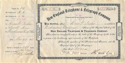 New England Telephone & Telegraph Company signed by Theodore Vail (First President of AT&T) and Moses Greeley Parker  - New York 1883