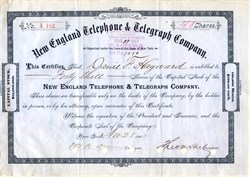 New England Telephone & Telegraph Company signed by Theodore Vail  (First President of AT&T) - New York 1883
