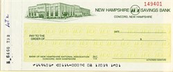 New Hampshire Savings Bank Check  - Concord, New Hampshire