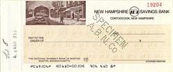 New Hampshire Savings Bank Check  - Contoocook, New Hampshire