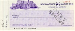New Hampshire Savings Bank Check  - Pittsfield, New Hampshire