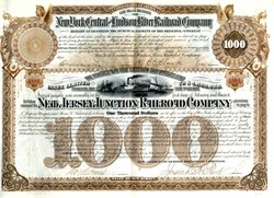 New Jersey Junction Railroad $1,000 Bond signed by famous Banker J.P. Morgan 1886