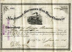 New Jersey Southern Rail Road Company signed by Charles J. Osborn - Jersey City 1876