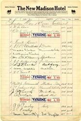 Register from the New Madison Hotel - Spokane,  Washington 1921