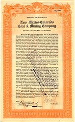 New Mexico-Colorado Coal & Mining Company $1000 Gold Bond - Terrotiroy of New Mexico 1911
