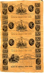New Orleans Canal & Banking Company (Early Uncut Sheets of Private Bank Notes)  - 1850