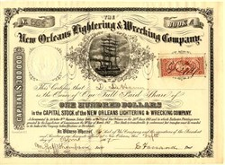New Orleans Lightering & Wrecking Company (Post Civil War Marine Salvage Company)  - Louisiana 1867