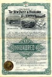 New Platz & Highland Electric Railroad Co. - New York 1893