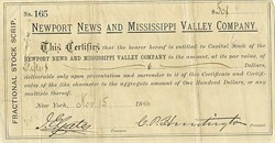 Newport News and Mississippi Valley Company - Collis P. Huntington 1886