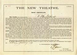 New Theatre (Became Century Theatre) RARE Trust Certificate to Robert B. Van Cortlandt   -  New York, New York - 1909