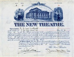 New Theatre (Became Century Theatre - Now Century Apartments building) RARE Box Owners certificate issued to Robert B. Van Cortlandt   -  New York, New York - 1910