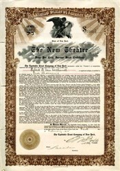 New Theatre (Became Century Theatre) RARE Bond Certificate to Robert B. Van Cortlandt   -  New York, New York - 1912