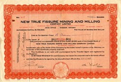 New True Fissure Mining and Miining - Ontario 1937