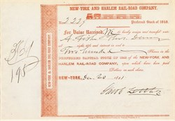 New York and Harlem Rail-Road Company with image of Train on Certificate signed by Original Wall Steet Bear, Jacob Little - 1851