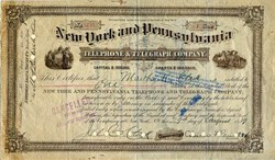 New York and Pennsylvania Telephone & Telegraph Company ( Early AT&T ) - New York 1889