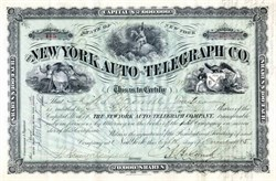 New York Auto-Telegraph Company Stock signed by Alonzo B  Cornell (Cornell University namesake) - 1885